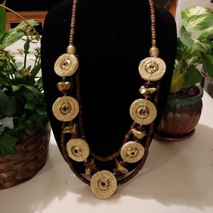 Handmade gold and wood bead necklace